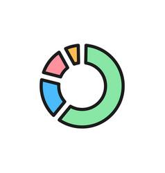 circle percentage diagram flat color icon vector image