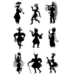 Collection allsorts silhouettes people vector