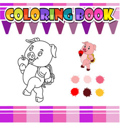 coloring book pig go to school cartoon vector image