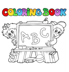coloring book with school images 2 vector image