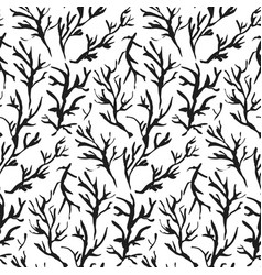 contrast hand drawn ink branches pattern vector image