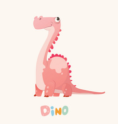 cute pink cartoon baby dino bright colorful vector image