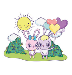 cute rabbits couple with balloons helium vector image