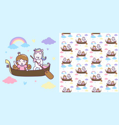cute unicorn and princess ride a boat with vector image