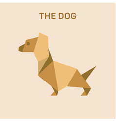 dachshund dog basset flat origami vector image
