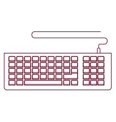 Dark red line contour of computer keyboard vector