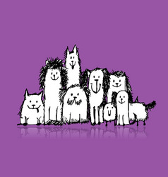 Dogs family sketch for your design vector