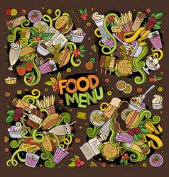 Doodles cartoon set food doodles designs vector