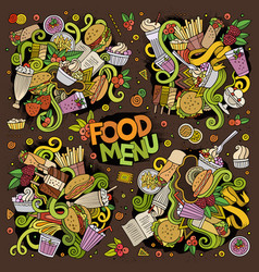 doodles cartoon set of food doodles designs vector image