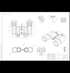Drawing and 3d model of binoculars vector