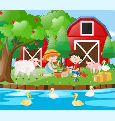 Farm scene with kids planting tree vector
