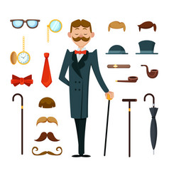 Fashioned retro gentleman with different vector