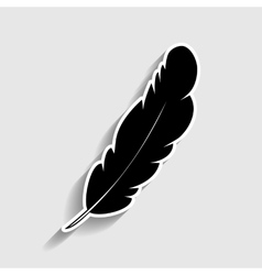 Feather sign Sticker style icon vector