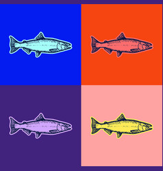 Fish pop art style andy warhol style vector