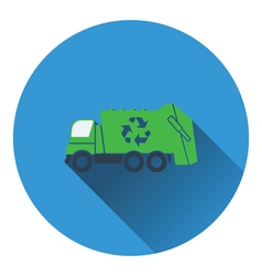 Garbage car with recycle icon vector image