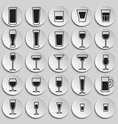 Glasses icons set on plates background for graphic vector
