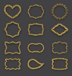 Golden frames vintage style glitter texture vector