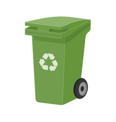 green recycle waste bin flat vector image