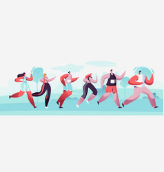 group characters running marathon vector image