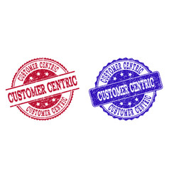 Grunge scratched customer centric seal stamps vector
