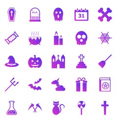 halloween gradient icons on white background vector image