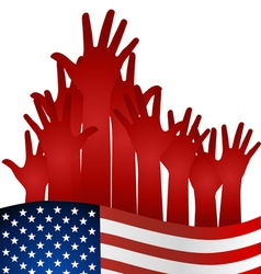 Hands and american flag vector image