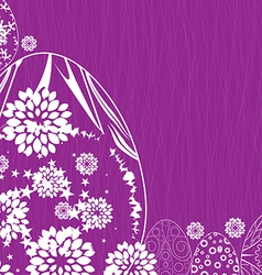 Happy easter with flower and eggs ornament vector