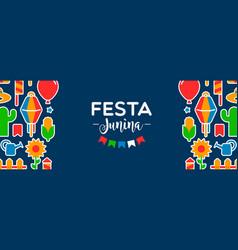 Happy festa junina party decoration web banner vector