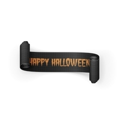 Happy Halloween Text on scroll greeting Ribbon vector