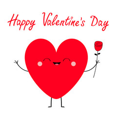 happy valentines day red heart icon cute cartoon vector image