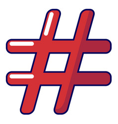 hashtag icon cartoon style vector image