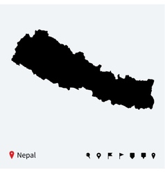 high detailed map nepal with navigation pins vector image