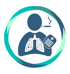 Human icon with cigarette sick lungs recipe vector