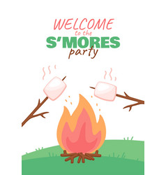 Invitation card design template for smores party vector