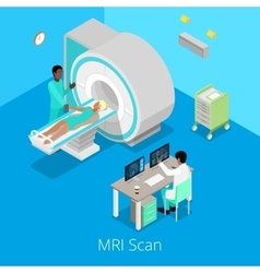 Isometric Medical MRI Scanner Imaging Process vector image vector image