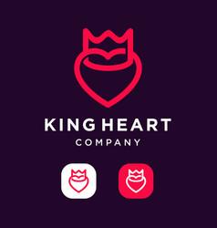 King heart logo icon vector