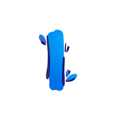 Letter i eco logo with blue water drops vector