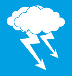 Lightning cloud icon white vector