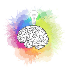 Linear of human brain with light bulb and rainbow vector