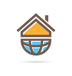 Logo combination of a house and earth vector image