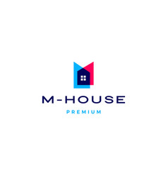 M house logo icon in overlapping style vector