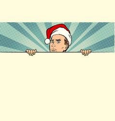 man with santa hat sales banner vector image