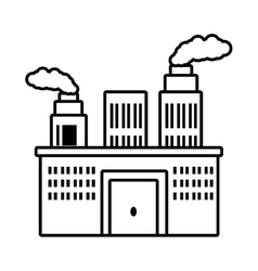 manufacture building pollution chimney outline vector image