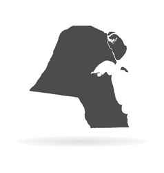 Map kuwait isolated black on vector