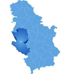 Map of Serbia Subdivision Zlatibor District vector