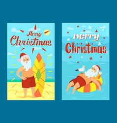 Merry christmas santa claus and surfing board xmas vector