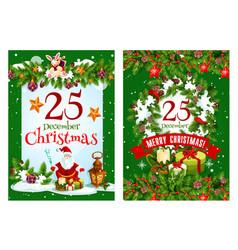 merry christmas santa present greeting card vector image