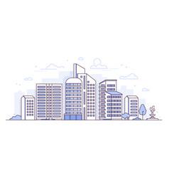 Modern city - thin line design style vector