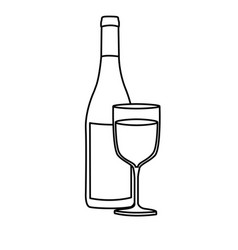 Monochrome silhouette with bottle of wine and vector