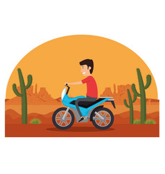 motorcycle vehicle in the desert vector image